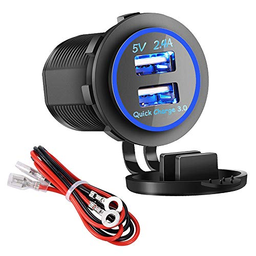 Dual USB Charger Socket Power Outlet - Quick Charge 3.0 \& 2.4A Port for Car Boat Marine Rv Mobile with Wire Fuse DIY Kit (QC 3.0 - Blue)