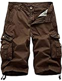 IDEALSANXUN Men's Casual Loose Fit Multi-Pockets Military Cargo Shorts (Coffee, 38)