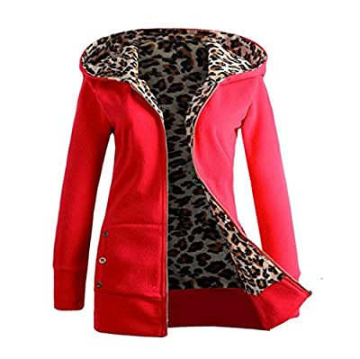 Pocciol Women Winter Thicker Warm Velvet Long Sleeve Zipper Leopard Hooded Pullover Jacket