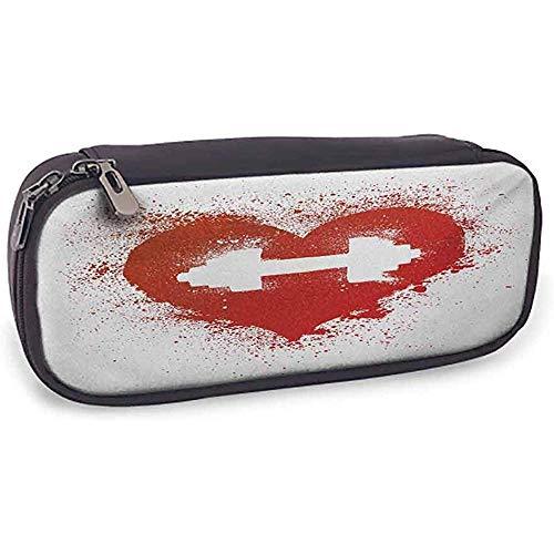 Leder Bleistift Tasche Fitness Red Heart Icon Mit Flecken Spritzer Hantel Grungeistic Love Valentines Rot Und Weiß