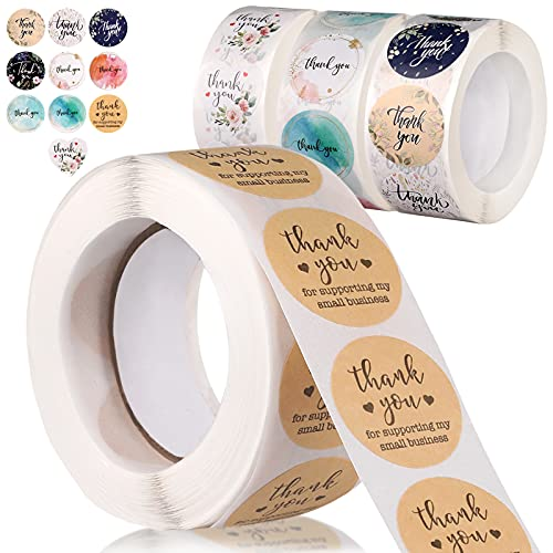 4 Rolls Thank You Stickers Labels, 2000 Pieces Thank You Seal Stickers Thank You Roll in 10 Designs for Cards, Gift Wraps, Envelopes, Flower Bouquets(500 Pieces Each Roll)