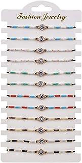 12 Pcs Colorful Evil Eye Beaded Bracelets Handmade Braided String Good Luck Amulet Bangle Good Lcuk Turkish Religious Symb...
