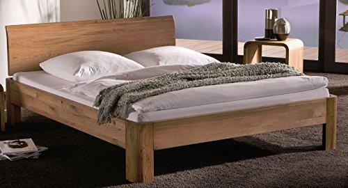Massivholzbett Eiche natur  Doppelbett 180x200 cm  Holzbett  Designer-Bett  Bettgestell bestehend aus Bettrahmen, Bettfüßen, Kopfteil und Längstraverse  hochwertige Qualität