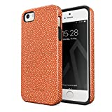 BURGA Phone Case Compatible with iPhone 5 / 5s / SE - White Polka Dots Pattern Vintage Orange Fashion Cute for Girls Heavy Duty Shockproof Dual Layer Hard Shell + Silicone Protective Cover