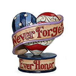 Never Forget Flag Heart Figurine