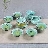 XGQ 9 en 1 Celadon GE Kiln púrpura de Arena Cerámica Completo del Kung Fu Juego de té (de cerámica Cubierta de la cavidad) (Color : Glass Cover Bowl)