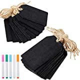 Mini Chalkboard Tags and Markers, Wooden Chalkboard Signs Double Sided Hanging Blackboard Signs Labels for Price Tags, Message Tags, Wedding Party Decoration Tags (29 Pieces)
