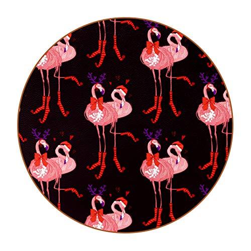 Posavasos de Redondo Resistente al Calor Flamenco de Navidad Conjunto de 6, Diseño Decorativo Moderno para Vidrio Tazas Hogar Oficina Mesa Restaurante Cafetería 11cm