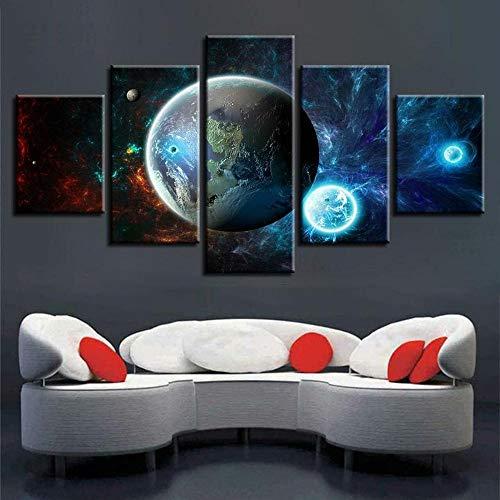 45Tdfc 5 Piezas Arte Pared Lienzo Alrededor del Universo Los Planetas HD Pintura Cartel ImpresióN - Wall Lona Paintings - Escena Sala Estar Oficina DecoracióN