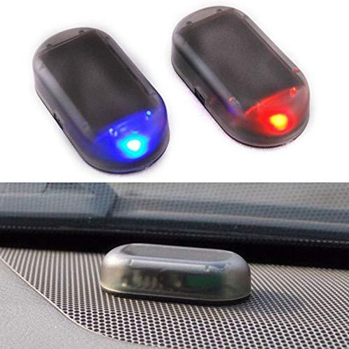Alarma de coche simulada de energía solar, luz LED de simulación de sistema de seguridad de imitación, advertencia, flash antirrobo, lámpara intermitente, cargador USB