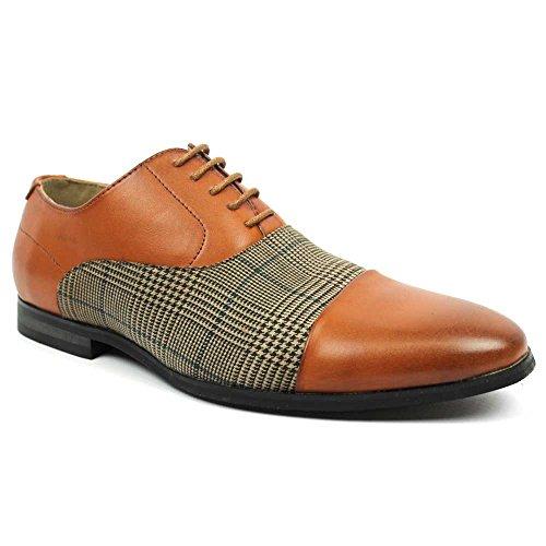 New Men's Cap Toe Plaid Checkered Lace Up Modern Dress Shoes Azar (8.5 U.S (D) M , COGNAC)