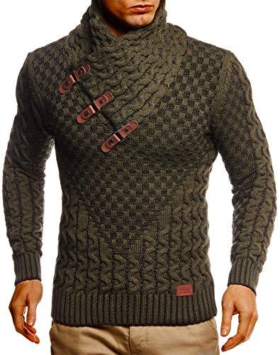Leif Nelson Herren Strick-Pullover Strick-Pulli mit Schalkragen Moderner Woll-Pullover Langarm-Sweatshirt Slim Fit LN5255 Khaki Schwarz Large