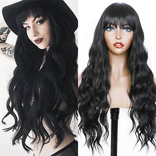 Fugady Hair Long Wavy Black Wigs With Side Bangs Synthetic Body Wave Fiber Wig Natural Curly Heat Resistant Full Machine Made Wig For Black Women Daily Cosplay Party