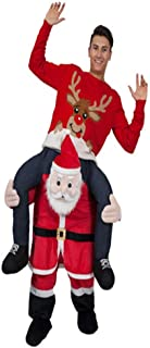 Christmas Carry Ride On Santa Claus Mascot Costume Brown