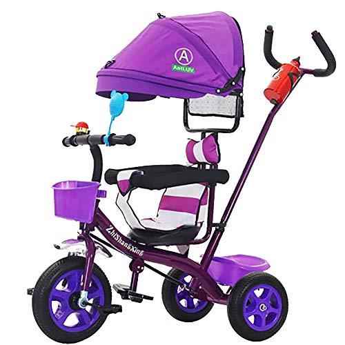 SSLC driewieler voor kinderen leeftijd 1 afneembare drukknop handvat 3 wiel peuters kinderen rijden op pedaal trike fiets 18 maanden tot 5 jaar