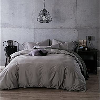 Kiss Tell 100% Egyptian Cotton Duvet Cover Sets, Solid Color Soft Duvet Cover Queen Silver Grey