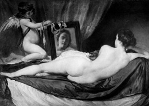 Venus and Cupid by Diego Rodriquez Velazquez oil painting on canvas (1599-1660) Poster Print (24 x 36)