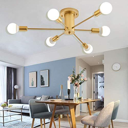Moderna lámpara de araña en aspecto dorado, creativa lámpara de techo molecular con bola de cristal, regulable, para salón, comedor, 6 luces