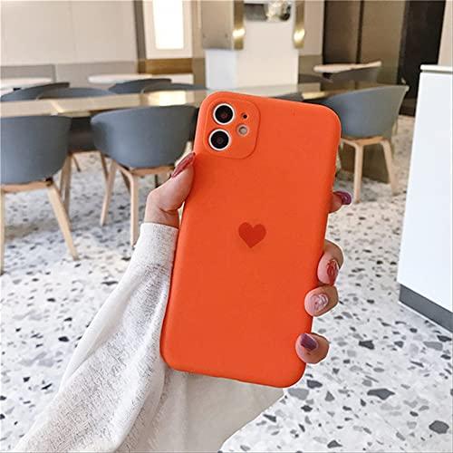 Frosted Lens Protection Funda de Silicona con corazón para teléfono para iPhone 11 Funda 11 Pro MAX x XR XS MAX 8 7 6 6s Plus se 2020 Fundas Soft TPU para iPhone XS MAX Naranja