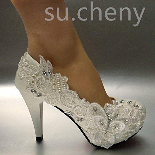 JINGXINSTORE Bianco Farfalla pizzo matrimonio scarpe da sposa 8cm/3alto molto décolleté taglia 5–11, bianco, 9.5 US