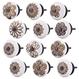 Knober Möbelknöpfe Edel Keramik Weiß Porzellan 40mm Landhausstil Shabby-Chic Schrankknopf