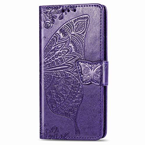 Schutzhülle für Nokia 1.3, stoßfest, PU-Leder, Klapphülle, 3D-Schmetterling, Folio, schmale Passform, magnetische Schutzhülle, weiche TPU-Stoßstange mit Ständer, Kartenfächern, Violett