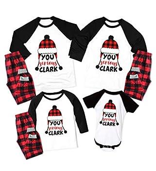 Christmas Pajamas for Family Matching You Serious Clark Plaid Printed Pants Loungewear White/Black