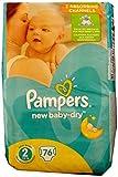 Pampers New Baby-Dry Lot de 76 couches pour bébé, Taille 2, 3-6 kg, coton doux