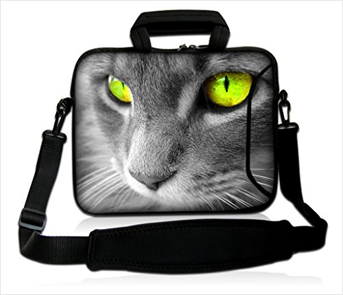 """Funky Planet 15""""- 15,6"""" Zoll Tablet-Laptop-Notebook MacBook-Tasche mit Griff und Tragetasche Schutzhaut (15h/s White Rabbit) (Grey CAT)"""