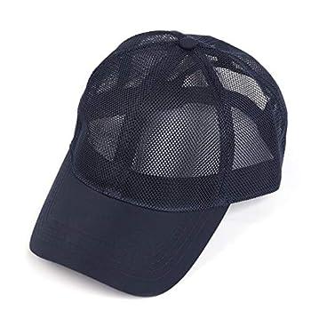 Zylioo Men s Breathable Mesh Baseball Cap Hat,Quick Dry Outdoor Sports Cap,Summer Adjustable Buckle Dad Hats Navy Blue