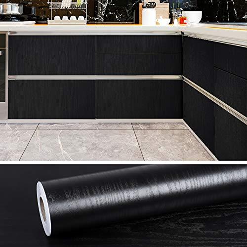 VEELIKE Papel Pintado Imitacion Madera Vinilo Autoadhesivo Negro Papel Pintado Pared Adhesivas para Muebles Puertas de Armario Encimera Cocina 0.4m x 18m