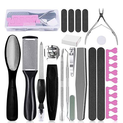 Kit d'outils de pédicure professionnel 20 en 1, en acier inoxydable Pied Rasp Foot Peel et Callus Remover Clean Feet Dead Skin Tool Set, Nail Toenail