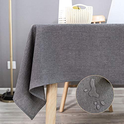 KINLO Tischdecke Leinenoptik Tischtuch Leinendecke Leinen abwaschbar Tischläufer Tischwäsche Eckig Lotuseffekt Wasserdicht Fleckschutz pflegeleicht 140x300 cm Grau