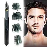 HNZNCY Cortadora de pelo de titanio para hombre, corte inalámbrico, herramienta de corte de pelo, funciona con batería, afeitadora y peluquería con 4 accesorios de peine
