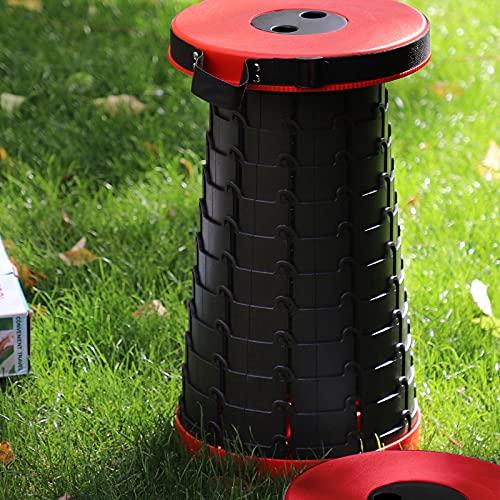 Freshtour Tragbarer Klapphocker Campinghocker Faltbar Hocker Höhenverstellbar Mini Teleskophocker Belastung 225kg für Innenbereich und Outdoor, Küche, Garten, Camping, Grillen, Angeln, Wandern(Rot