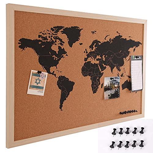 BAKAJI Pannello Bacheca Mappamondo in Sughero Cartina Geografica Mappa del Mondo Telaio in Legno con Cornice Dimensione 60 x 40 cm da Parete Muro Design Moderno con 10 Puntine Idea Regalo