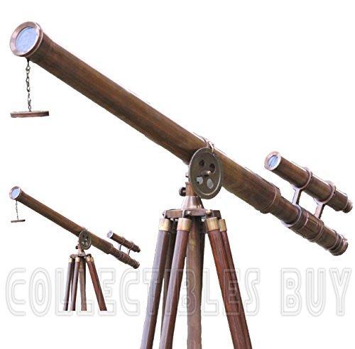 Clásica Retro Tema telescopio latón Envejecido Oxidado Acabado Madera trípode Compacto