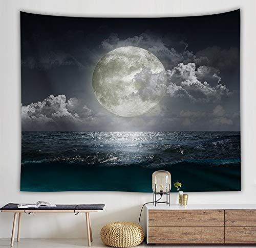 WERT Sea Rises Bright Moon Tapiz Colgante de Pared Moon Light Tapices Estilo Fresco Paisaje Mar Negro Hippie Paño de Pared Home Deco A7 130x150cm