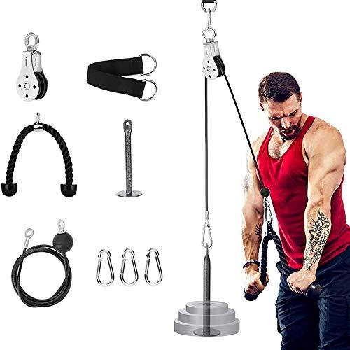 Riiai Fitness Polea Cable Sistema de fijación de la máquina, 1,4 m/1,8 m/2 m de longitud ajustable con pasador de carga, correa de tríceps, equipo de gimnasio en casa, accesorios deportivos