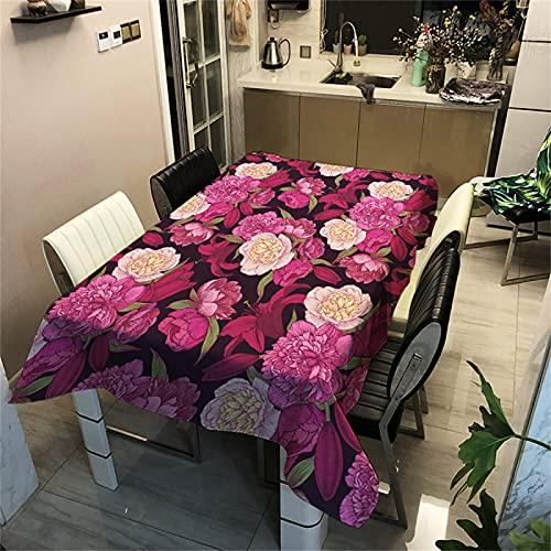 Efecto 3D-Patrón De Flores-Poliéster Mantel Rectangular Impermeable-Mantel Cuadrado-Mesa De Centro Mesa-Cocina-Decoración De Sala De Estar-Picnic Al Aire Libre Camping 90x90cm
