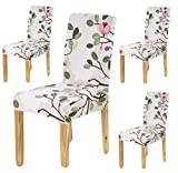 BRIDA Stretchable Floral Printed Dining Chair Covers Elastic Chair Seat Case Protector, Slipcover Set of 4 (White)