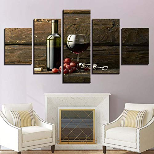 adgkitb canvas Wand Dekor Bild Fünf Stücke Hd Kombination Weinglas Dekor Hause Bett Hintergrund Küche Modulare Wandkunst KEIN Rahmen