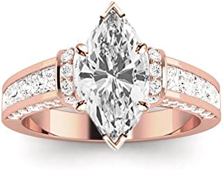 2 Ctw 14K White Gold Contemporary Channel Princess Round Marquise Cut GIA Certified Diamond Engagement Ring (1 Ct K Color SI2 Clarity Center Stone)