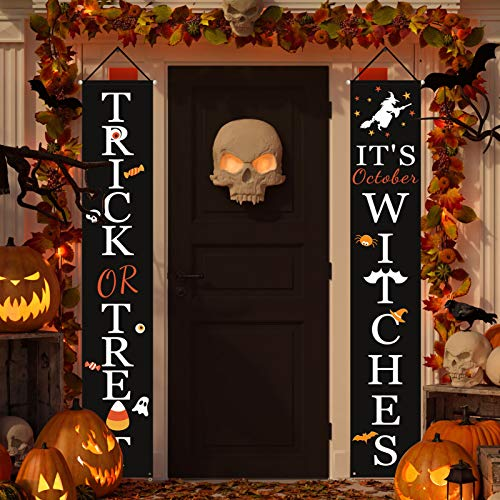 Halloween Decorations Outdoor | Trick or Treat & Its October Witches Halloween Signs for Front Door or Indoor Home Decor | Porch Decorations | Halloween Welcome Signs