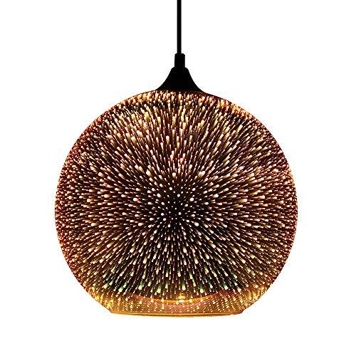 Newrays Modernes 3D Glas Buntes Feuerwerk Kreative Pendelleuchte mit 30cm Lampenschirm (P3D01)