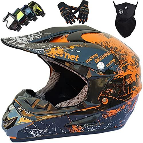 Casco de Motocross Niños, MJH-01 Casco de Moto Cross para Jóvenes y Adultos con Gafas Guantes Máscara, Casco de Integral BMX Quad Enduro ATV Scooter ATV para Mujeres Hombres - Tamaño: S-XL / 52-59CM
