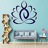 Vitrinas Lotus Wall Etiquetas de vinilo Yoga Meditación Decoración del hogar Dormitorio Sala de estar Murales Budismo-12 azul_porcelana_84x93cm