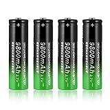 Ygerbkct 4 pcs 18650 Batería de Litio Recargable 3.7V 9800MAH, Batería de Litio de Iones de Litio Recargable, Adecuada para Linternas LED, Iluminación de Emergencia, Equipos Electrónicos, etc
