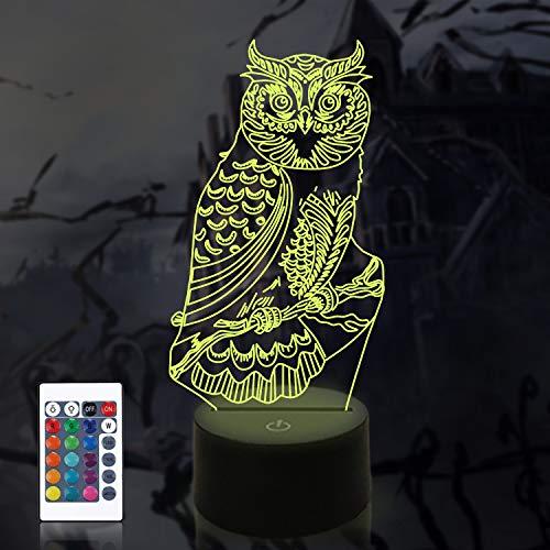 3D Eule Illusion Lampe, CooPark Vogel LED Optisches Hologramm Nachtlicht 16 Farben ändern sich mit Fernbedienung, Kinderzimmer Dekor Kreative Geschenke für Weihnachten Geburtstag Jungen Mädchen