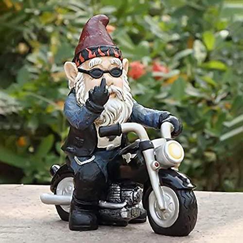 LOVONLIVE Gartenzwerg Motorrad Zwerge, Dekofigur Biker mit Lederjacke, Gartenzwerge Lustige Dekoration Feenharz Zwerg Statuen, Wird in Gnomdekorationen im Gartenhof Verwendet
